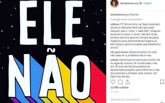 Além de Malu Mader, famosas como Daniela Mercury se  manifestaram contra a candidatura de Jair Bolsonaro