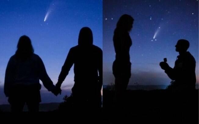 Namorado espera a passagem do cometa Neowise para pedir a namorada em casamento
