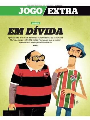 Capa do Extra com a dívida do Fluminense com o Flamengo