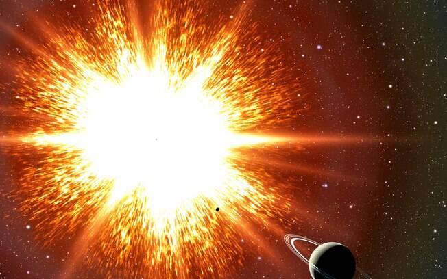 Representação artística de uma supernova próxima a um exoplaneta.