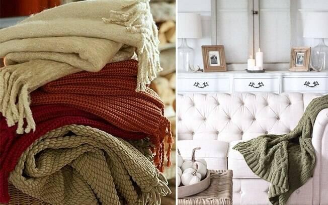 Cobertores dão um toque de outono à casa