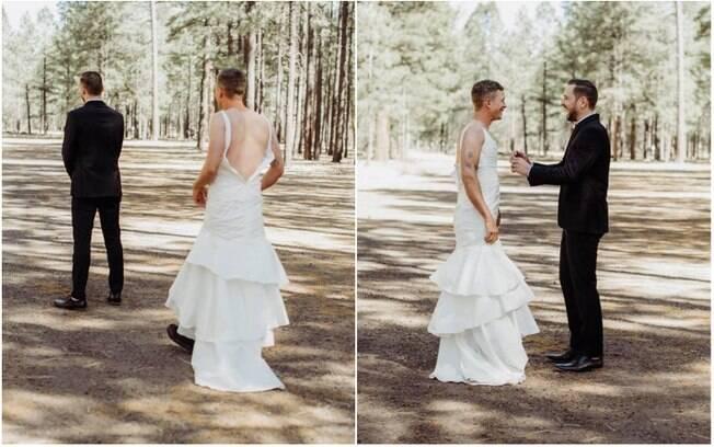 Ao ver que o noivo estava nervoso para o momento do 'first look', Heidi decidiu pregar uma peça no marido e mandou o próprio irmão em um vestido de noiva para encontrá-lo de surpresa para espantar de vez a ansiedade