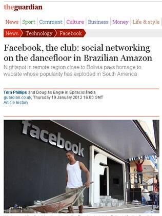 Jornal britânico The Guardian mostra foto da danceteria Facebook, no Acre