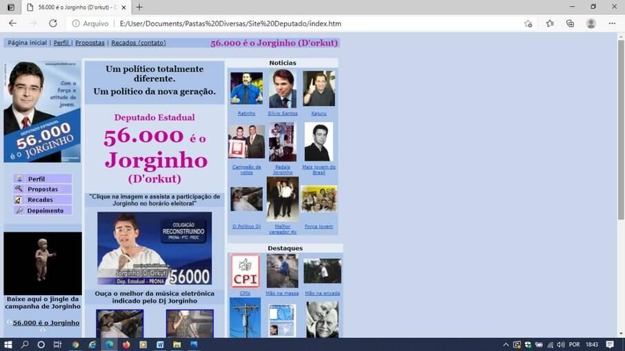 Site da campanha eleitoral de Jorginho d'Orkut em 2006