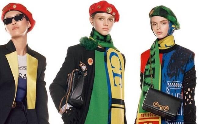 Primeira da direita para esquerda. Eduarda Bretas  é a mais nova integrante da marca Versace.