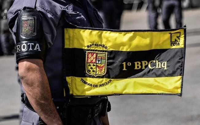 Estandarte do 1º Batalhão de Policiamento de Choque Tobias de Aguiar, do qual a ROTA faz parte