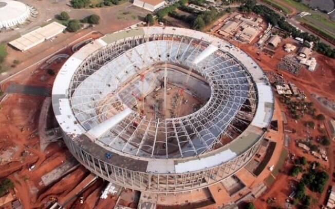 Visão aérea do estádio Mané Garrincha, em  Brasília