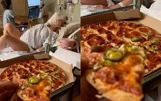 Homem é criticado pro comer pizza enquanto a esposa está em trabalho de parto