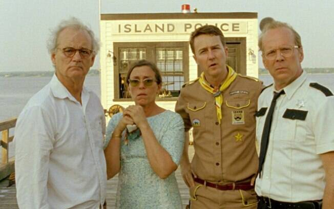 Os atores Bill Murray, Edward Norton e Bruce Willis em cena ao lado de Frances McDormand