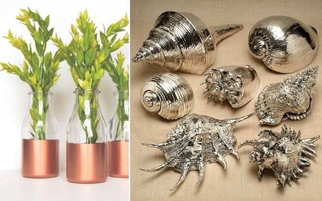Tons metálicos como dourado e acobreado estão na moda e, com tinta em spray, você pode renovar vários itens
