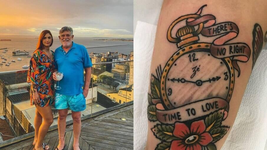 Carol Junger faz tatuagem em homenagem a Zé de Abreu