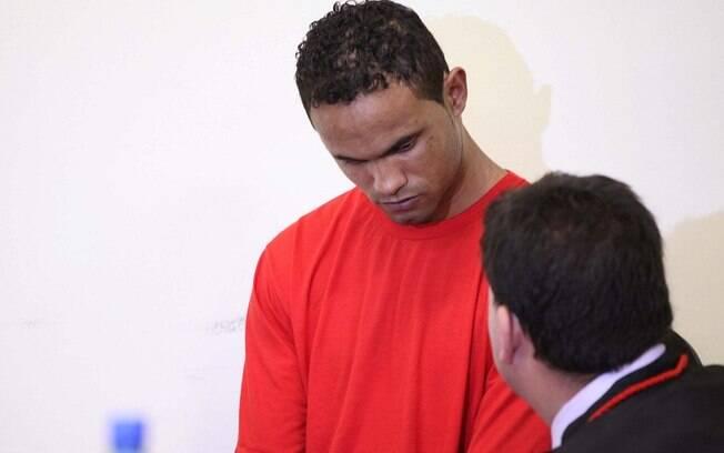 Ex-goleiro Bruno durante julgamento nesta quarta-feira (6)