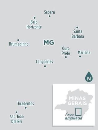 Localize-se nas principais cidades históricas de Minas Gerais