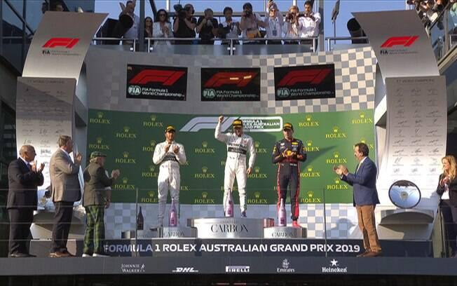 Pódio do GP da Austrália teve Bottas em primeiro, Hamilton em segundo e Verstappen em terceiro