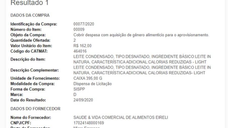 Governo Federal pagou R$ 162 em duas caixas de leite condensado