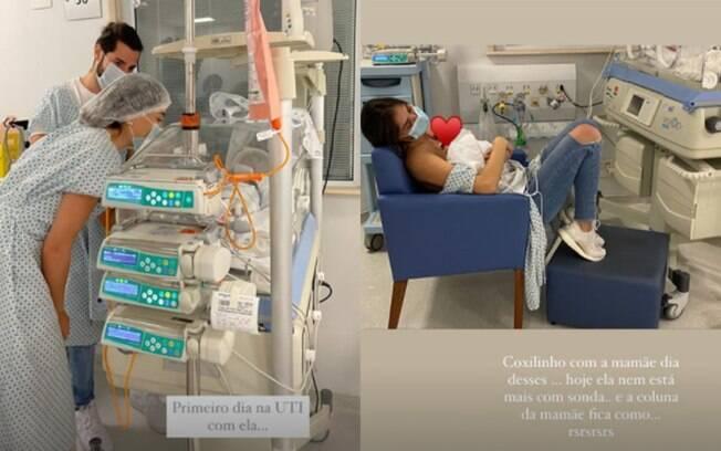 Romana Novais se reencontra com a filha após parto prematuro
