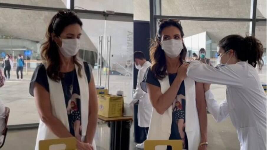 Fátima Bernardes é vacinada com segunda dose contra Covid-19