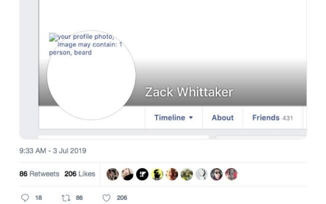 Usuário mostra no Twitter os dados de sua foto de perfil do Facebook durante a falha. No lugar da imagem está escrito