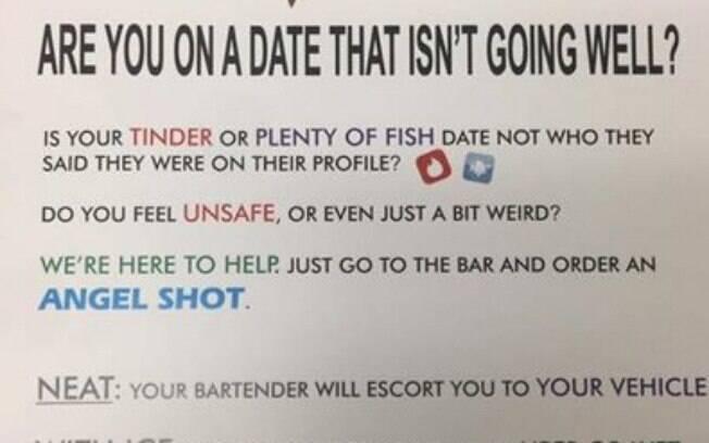 O cartaz foi espalhado pelos banheiros femininos do bar.