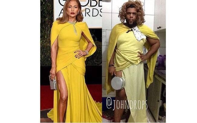 O vestido de Jennifer Lopez virou piada nas redes