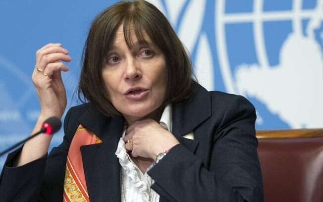 Marie-Paule Kieny, diretora-geral assistente da OMS, concede coletiva em Genebra, na Suíça