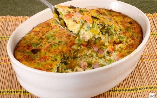 Torta de tapioca com legumes sem glúten e sem lactose