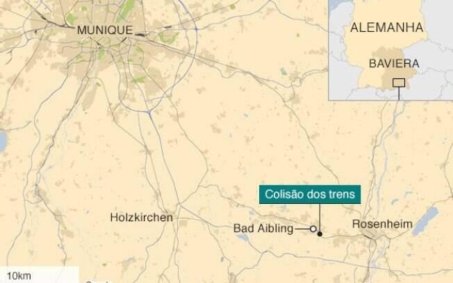 Acidente ocorreu no Estado alemão da Baviera, nas proximidades da cidade de Bad Aibling