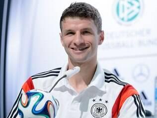 Thomas Müller foi um dos entrevistados e mostrou bastante descontração antes da final contra a Argentina