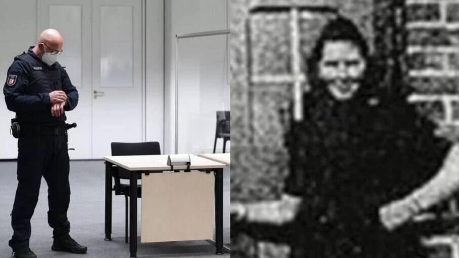 Corte da Justiça da Alemanha esperando a ex-secretaria nazista, retratada ao lado
