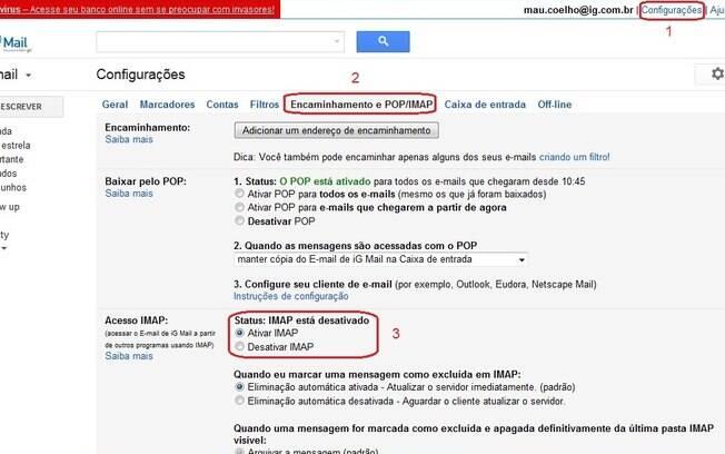 iG Mail pode ser configurado para funcionar com IMAP