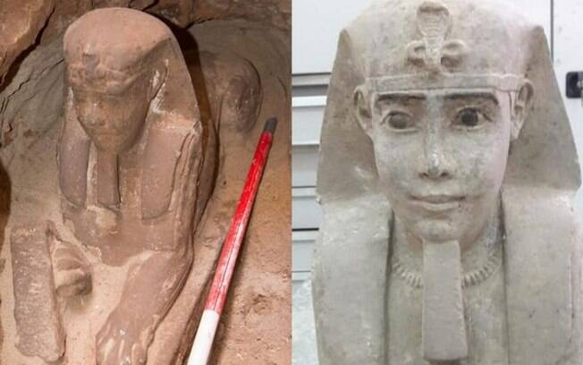 A esfinge de arenito está sendo analisada pelos arqueólogos, que buscam novas informações sobre a escultura