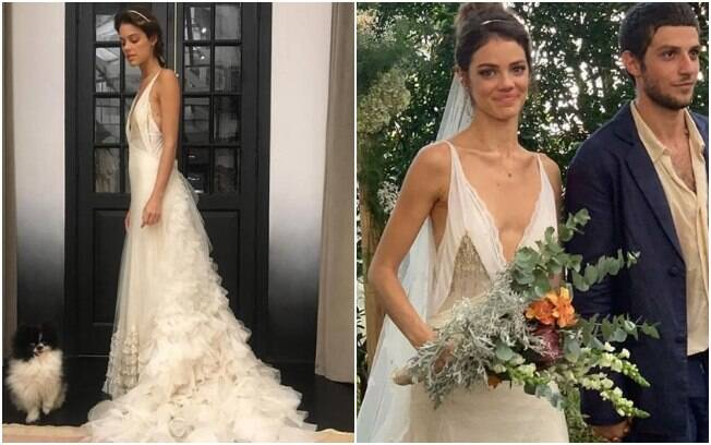 O vestido de noiva de Laura Neiva foi assinado pela estilista Emanuelle Junqueira e inspirado no estilo boho