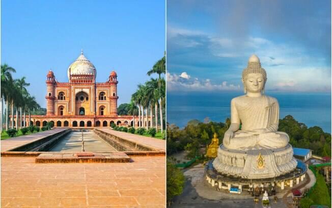 À esquerda, Nova Deli, na índia, cuja viagem custa R$ 2600. À direita, Phuket, na Tailândia, que custa R$ 18900