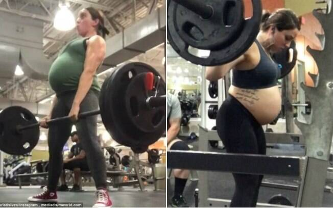 A gestante Kristi Sives continuou a praticar o powerlifting durante a gravidez