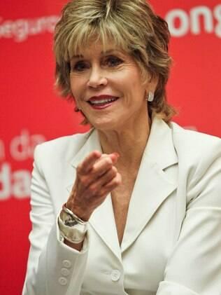 Jane Fonda em evento realizado esta semana no Brasil: atriz falou sobre o