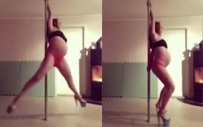 Grávida de nove meses chama atenção ao dançar no pole dance usando sapatos de  salto alto
