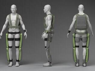 O ReWalk é feito por duas pernas mecânicas e com apoio, além de um suporte para as costas, uma bateria externa, sensores e um controle digital de pulso