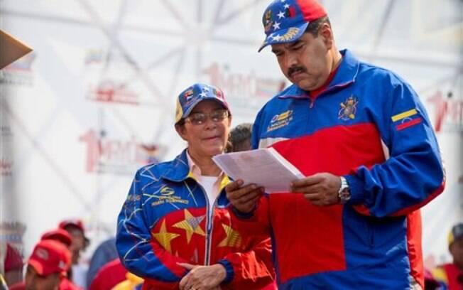 O presidente da Venezuela, Nicolas Maduro, em festejos do Dia do Trabalho, na semana passada