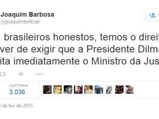 Ministro usou seu perfil para propor a exigência da demissão do atual Ministro da Justiça.