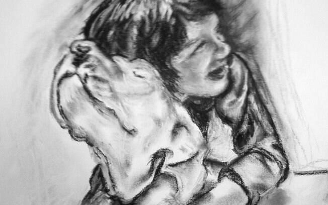 Desenho feito por Cláudia de seu filho Lorenzo e da cadela Marianna
