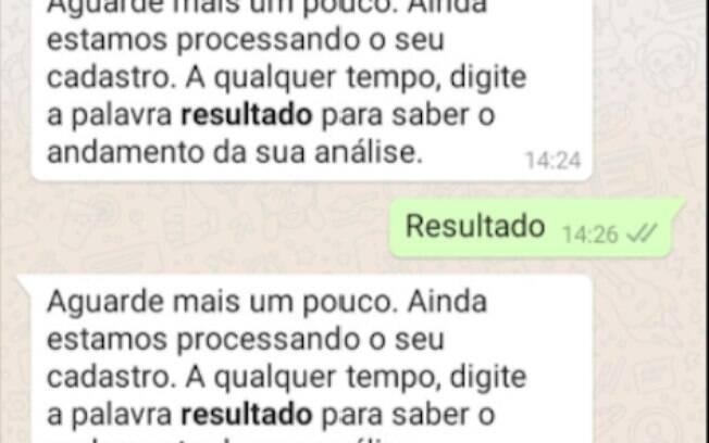 Beneficiário conversa com o atendimento automático da Caixa por WhatsApp sobre o auxílio emergencial