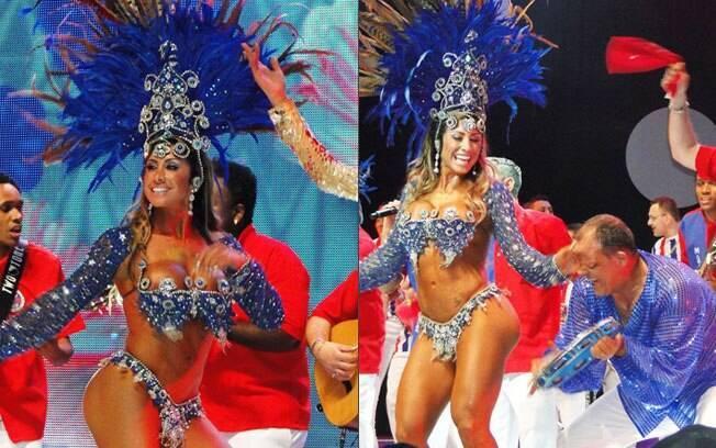 Jaque Khury durante as gravações da vinheta de Carnaval da Rede Globo