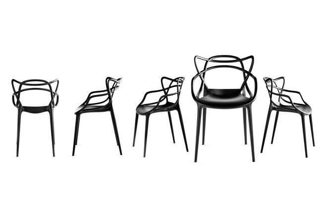 A cadeira Masters: união da Série 7, de Arne Jacobsen, da Tulipa, de Eero Saarien, e da Eiffel Chair, de Charles Eames