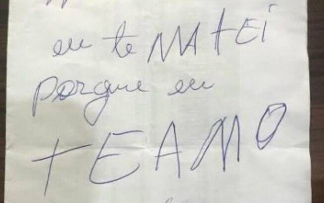 Em um bilhete escrito após matar a mulher, Izaquel disse que matou por amor.