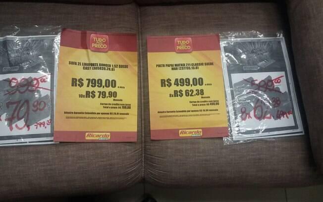 Ricardo Eletro anunciou descontos na Black Friday, mas Procon encontrou cartazes antigos com o mesmo preço