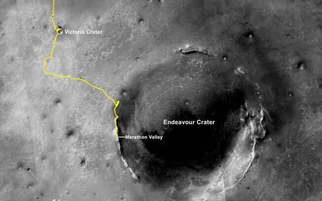 Trajetória do Opportunity na superfície de Marte