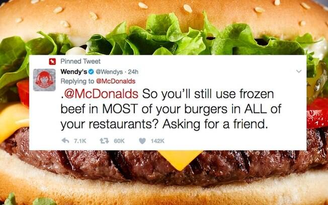 A rede de fast-food Wendy's provocou o McDonald's no Twitter