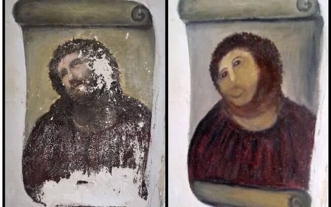 A figura do Cristo ficou transfigurada após intervenção de Cecilia Giménez