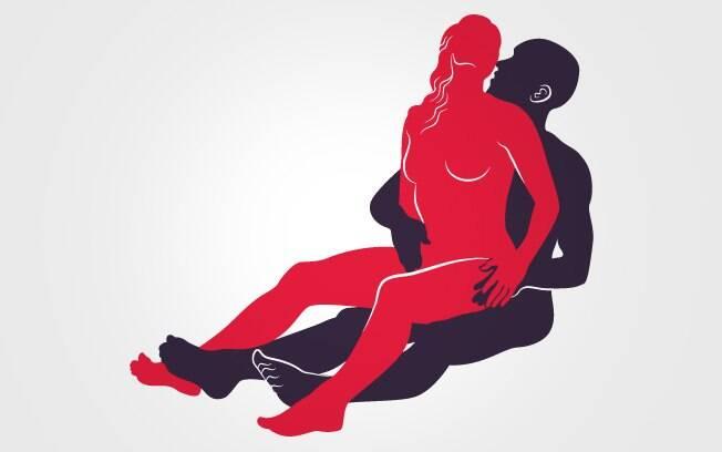 Posições para fazer amor:  homem penetra a companheira enquanto ela se senta no seu colo, estimulando seu clitóris