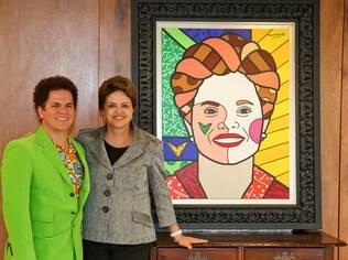 Romero Britto ao lado de Dilma Rousseff
